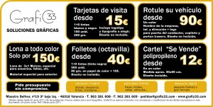 cartel folletos lona tarjetas de visita grafic33